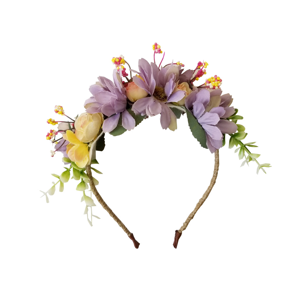 Girls Lavender Flower Headband