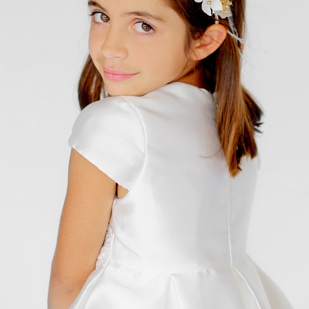 Girls Fondant Dress Ivory with Lace Trim Back