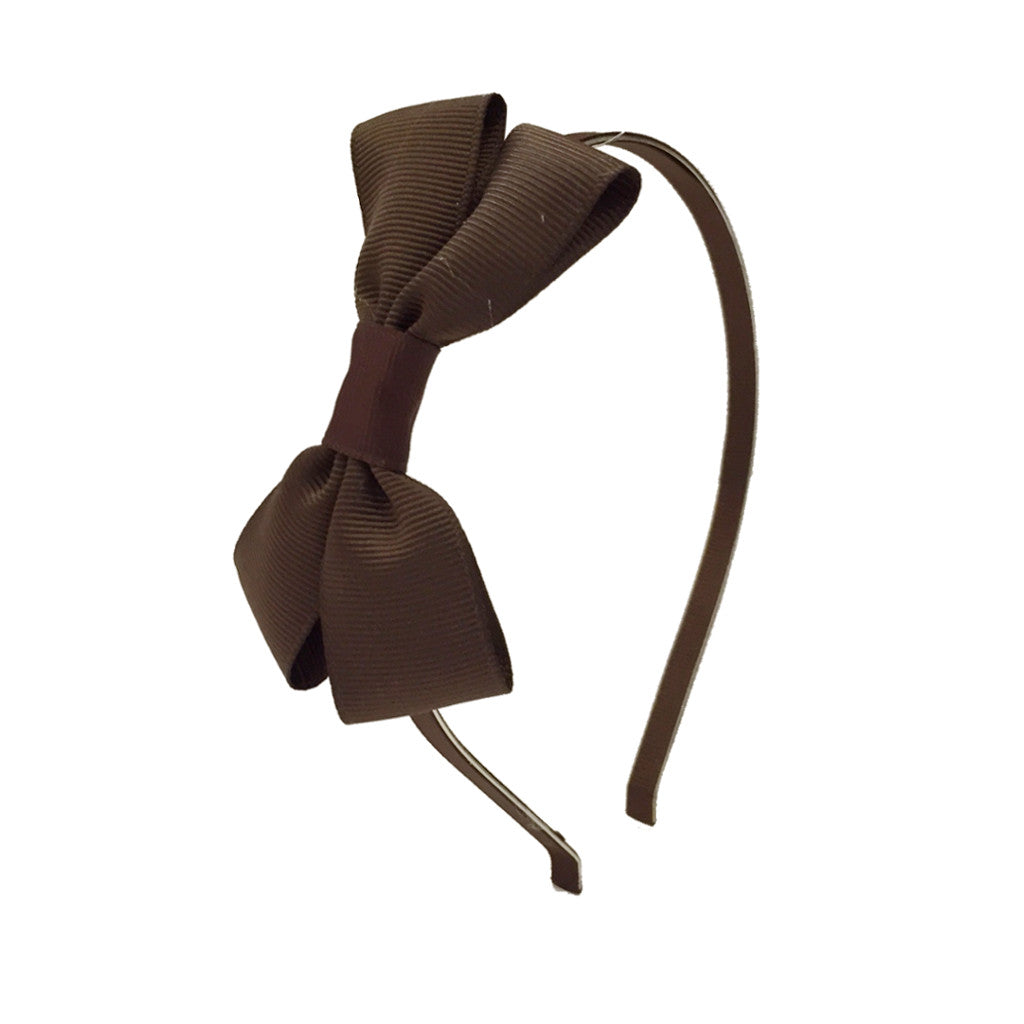 Girls Grosgrain Bow Hairband - Hot Chocolate