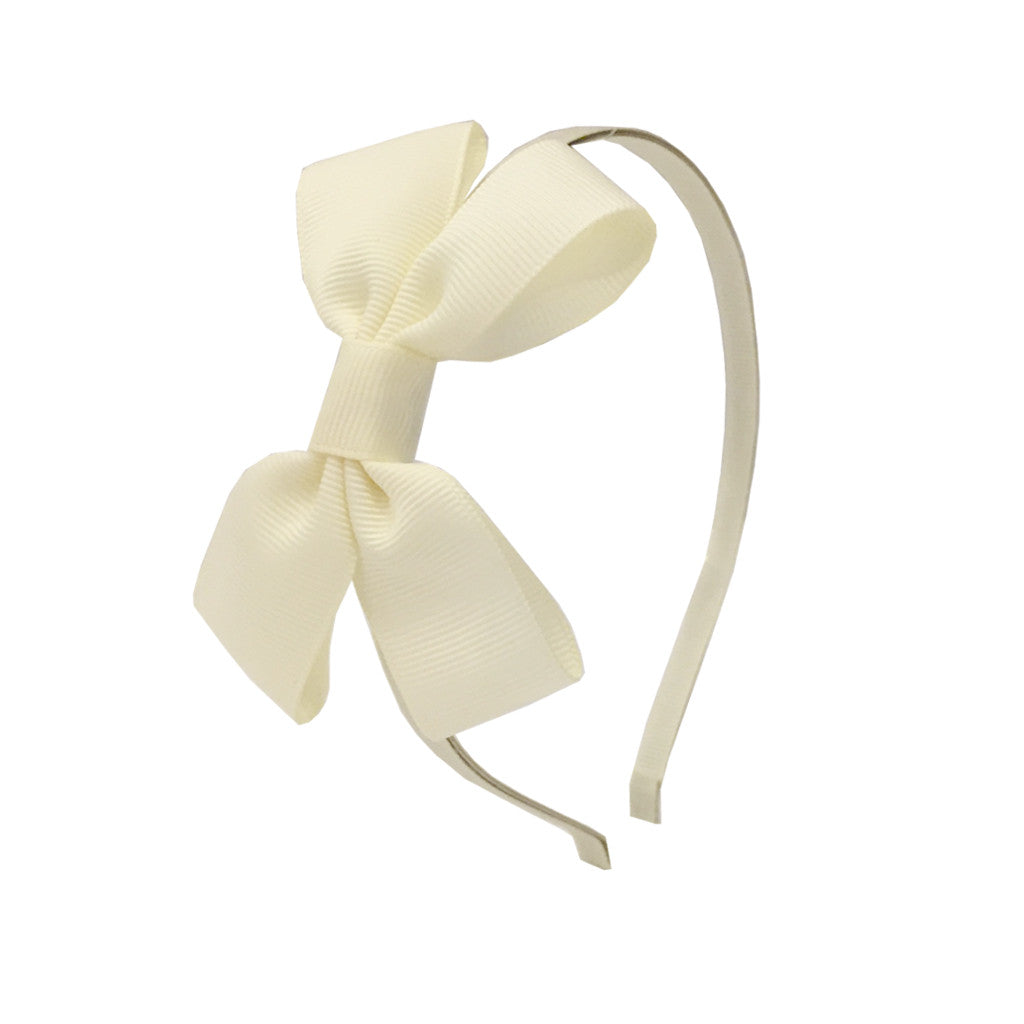 Girls Grosgrain Bow Hairband - Sherbet Lemon