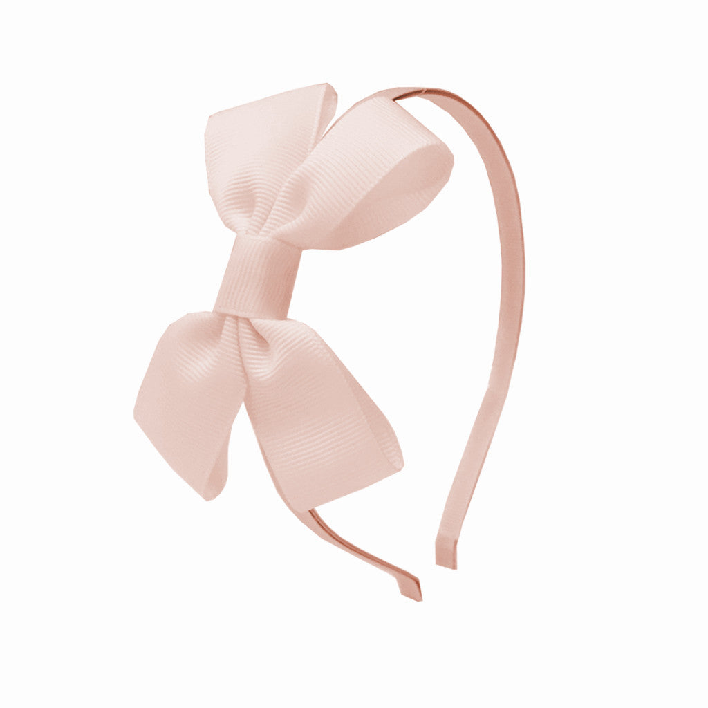 Girls Grosgrain Bow Hairband - Pink Blush
