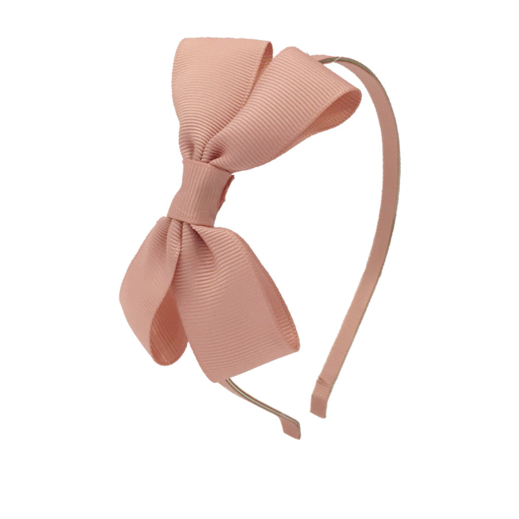 Girls Grosgrain Bow Hairband - Dusty Rose