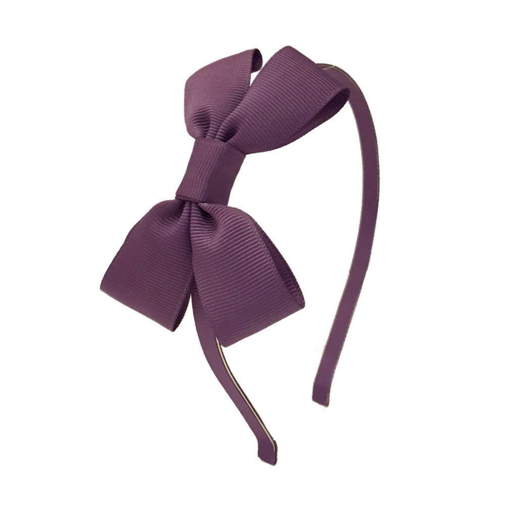 Girls Grosgrain Bow Hairband - Lilac Mousse
