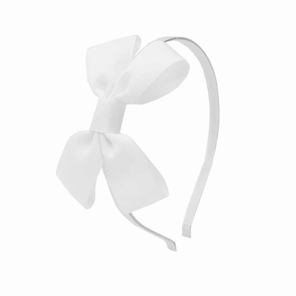 Girls Grosgrain Bow Hairband - Creme Fraiche