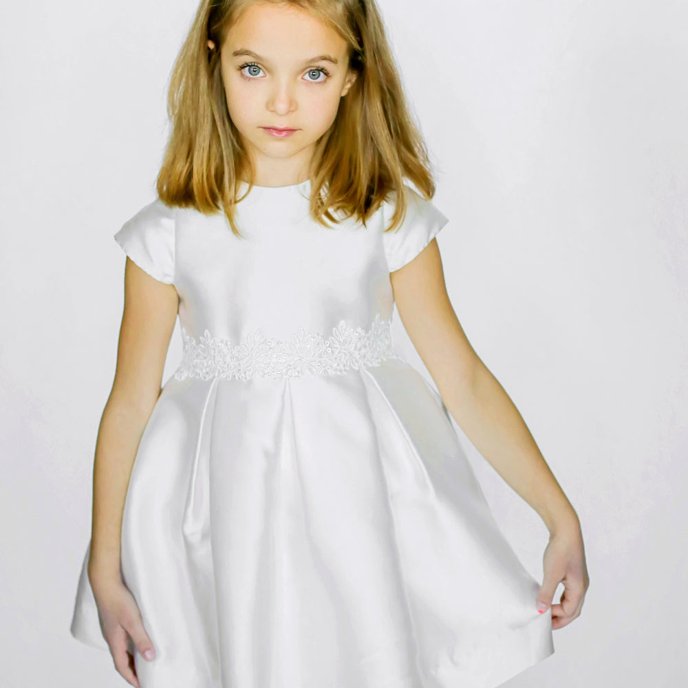 Girls Fondant Dress Ivory with Lace Trim