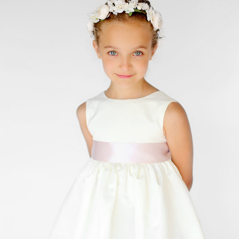 Girls Meringue Satin Dress Ivory