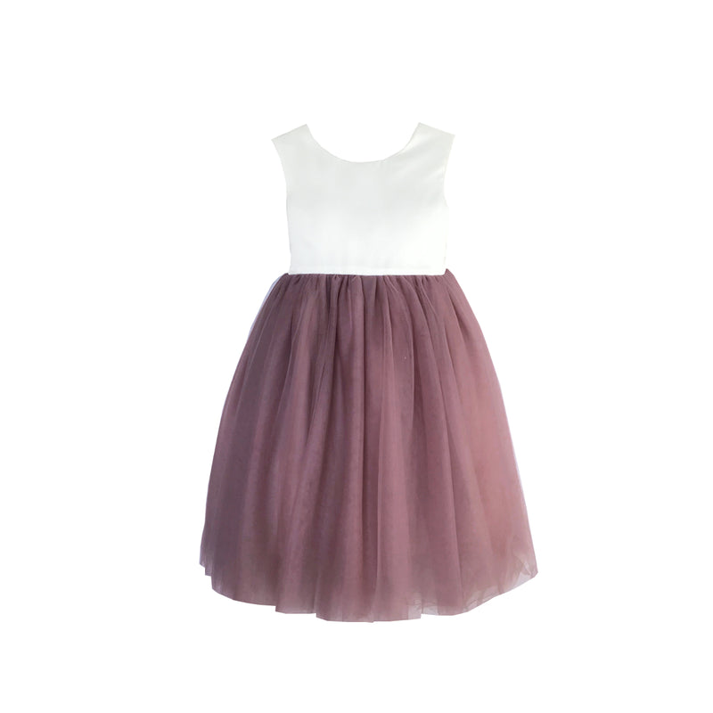 Girls Macaron Dress Tulle Mauve Front