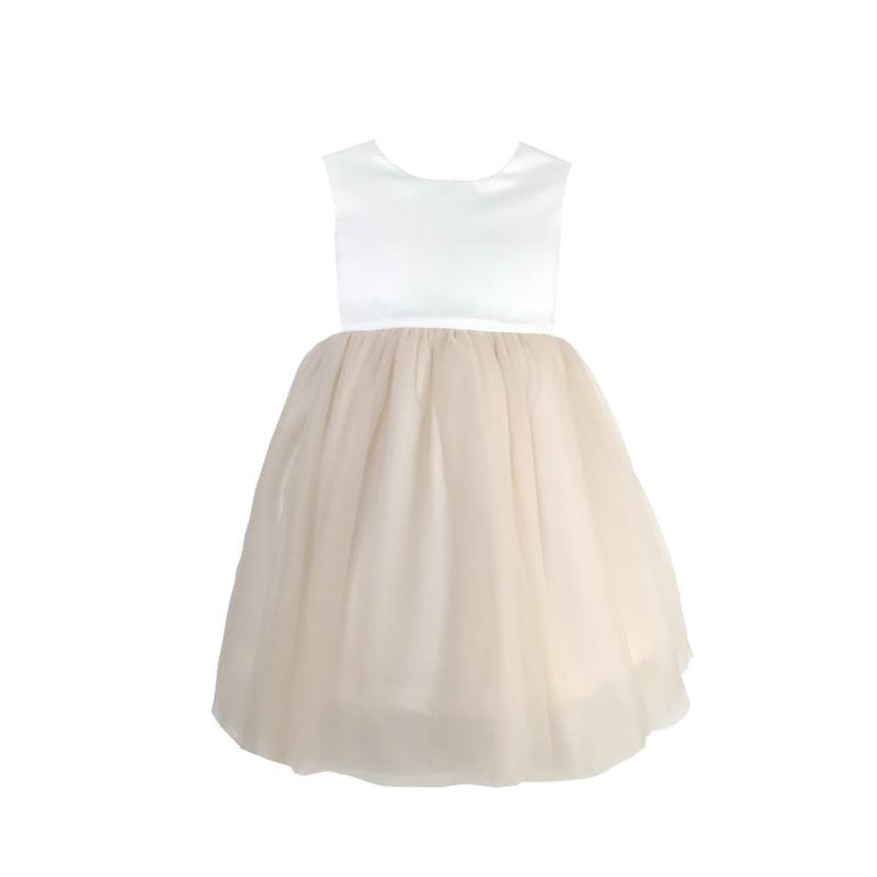 Girls Macaron Dress Tulle Beige Front 2