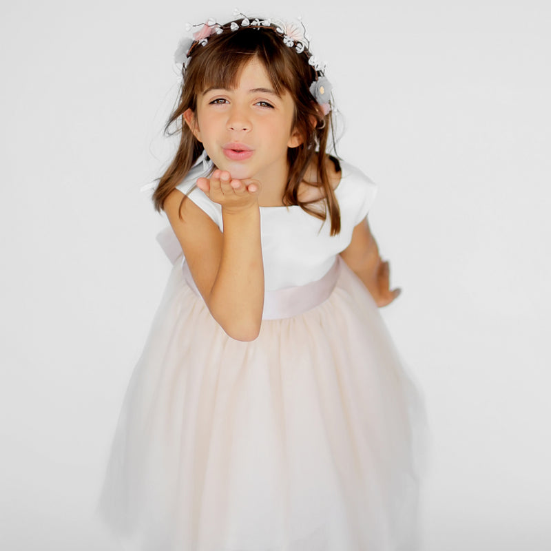 Girls Macaron Dress Tulle Beige Front