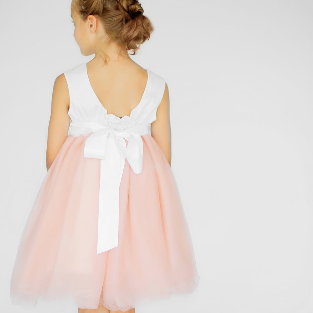 Girls Macaron Dress Tulle Orange Back