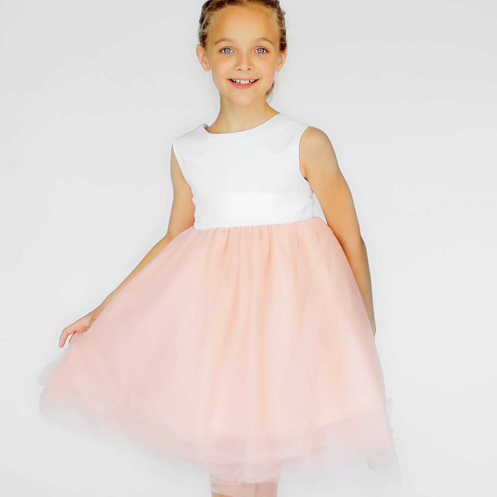 Girls Macaron Dress Tulle Orange Front