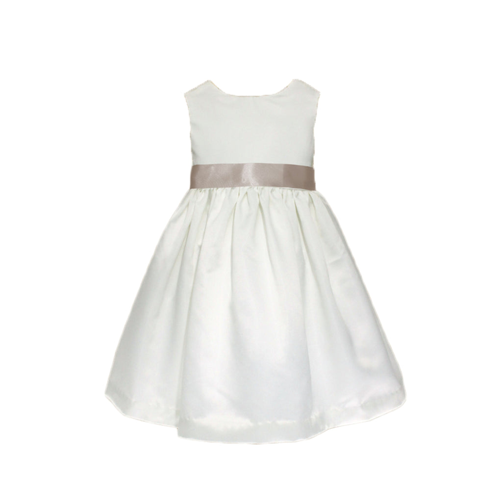 Girls Meringue Satin Dress Ivory Front