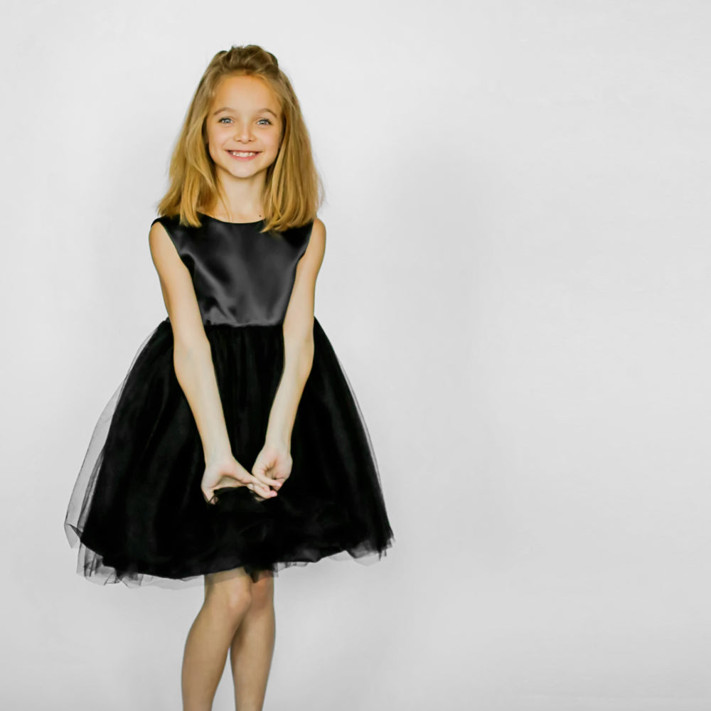 Girls Meringue Tulle Dress Black 2