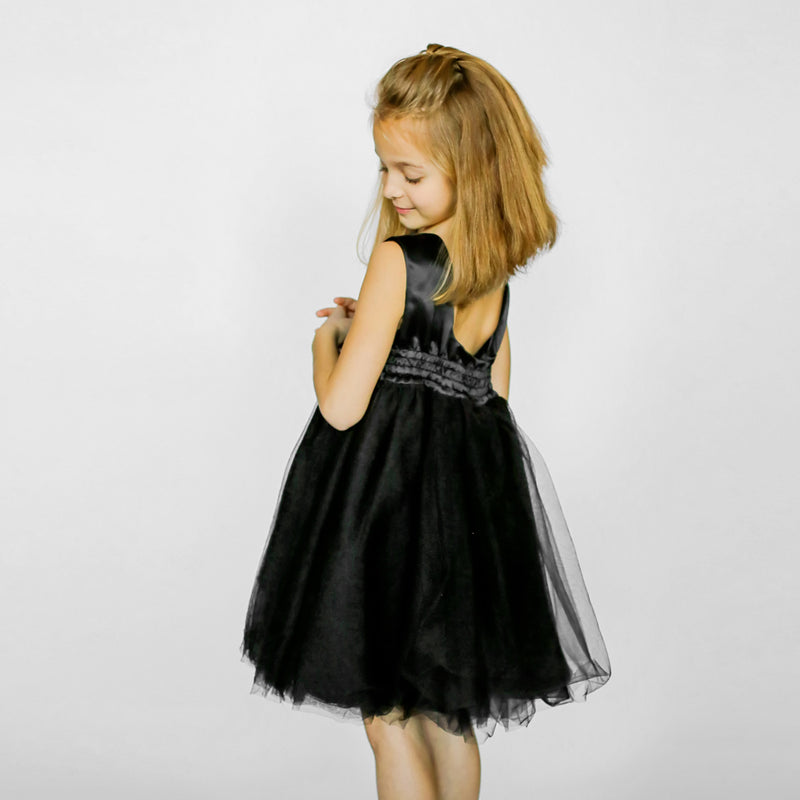 Girls Meringue Tulle Dress Black Back