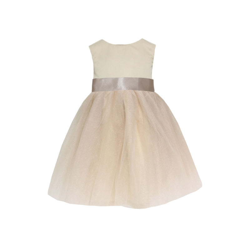 Girls Meringue Tulle Dress Champagne Front
