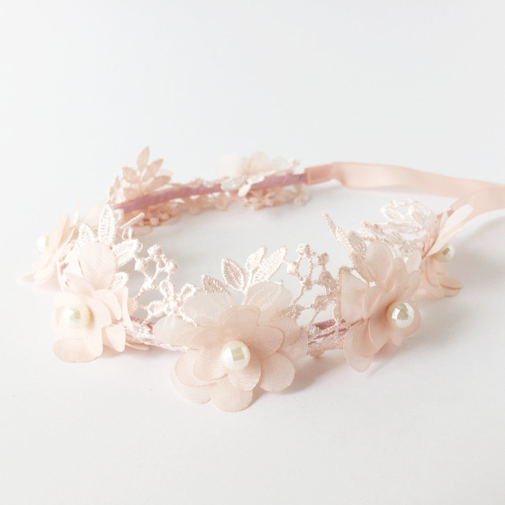 Girls Halo Lace & Tulle Flowers Blush Pink 2