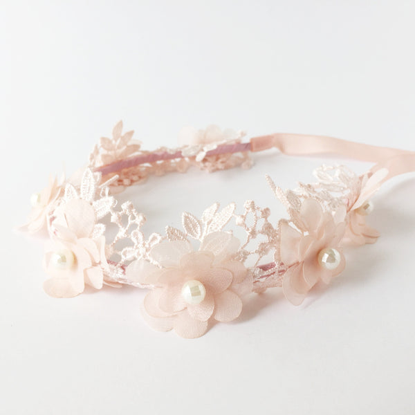 Halo Lace & Tulle Flowers | Blush Pink