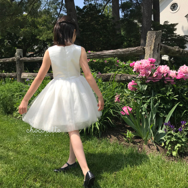 Girls Pavlova Tulle Dress Ivory Back