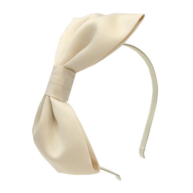 Girls Satin Bow Hairband - Champagne