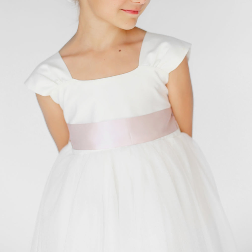 Girls Souffle Tulle Dress Ivory Front