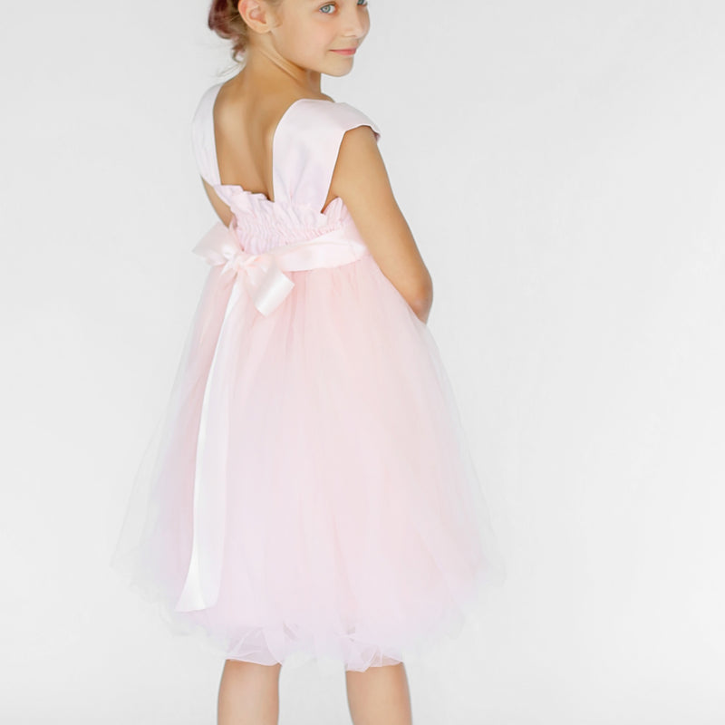 Girls Souffle Tulle Dress Blush Pink Back