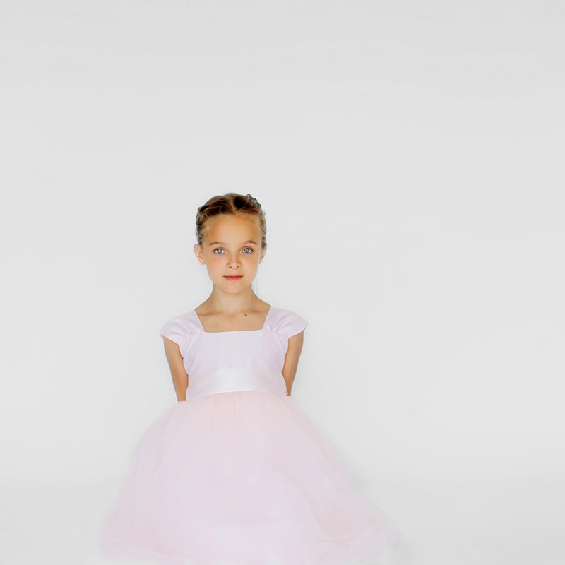 Girls Souffle Tulle Dress Blush Pink Front