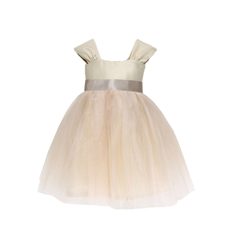 Girls Souffle Tulle Dress Champagne