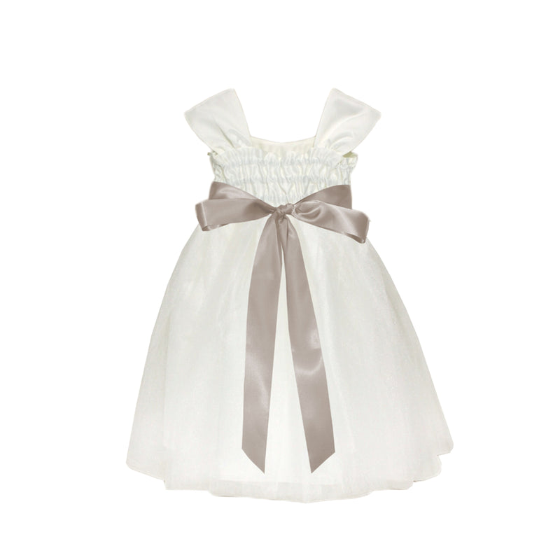 Girls Souffle Tulle Dress Ivory Back