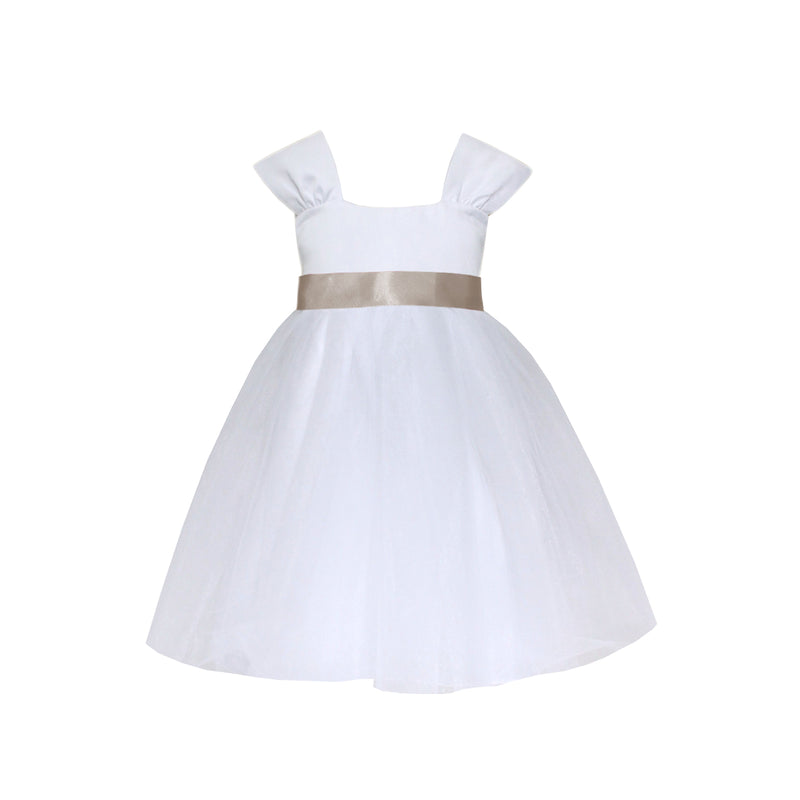 Girls Souffle Tulle Dress White Front