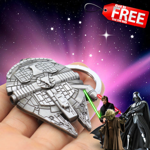 New Star Wars Millennium Falcon Metal Keyring Keychain Silver Color