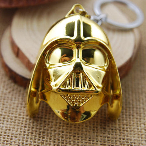 New Star Wars 3D Darth Vader Ring Key Chain Black Pewter Bronze Stainless