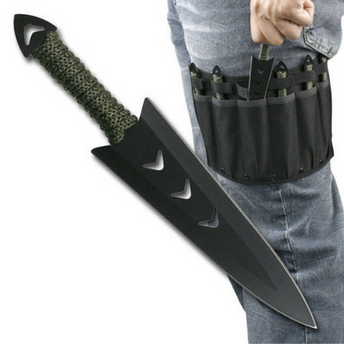 BRAND NEW 6PC Throwing Knife Set with Leg Sheath Black