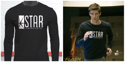 The Flash DC Barry Allen Laboratories Star Labs Mens Black Long Sleeve T-Shirt