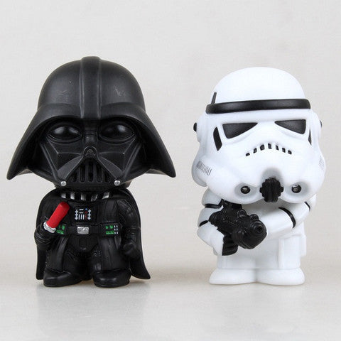 "Cartoon Set Of 2pcs Star Wars White & Black Stormtrooper 11cm/4.4"" PVC Figure"