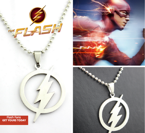 The Flash Lightning shape Pendant Necklace leather chain UniSex