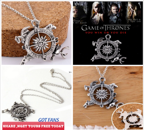 Game Of Thrones A Song of Ice and Fire Compass Pendant Necklace Fashion Gift