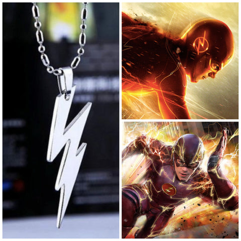THE FLASH FASHION SUPER HERO STEEL NECKLACE COSPLAY ANIME LOGO CHAIN PENDANT SILVER