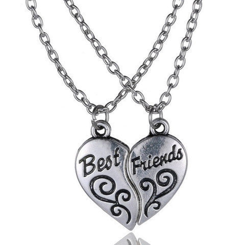 2 PIECE BEST FRIENDS GEOMETRIC HEART NECKLACE PENDANT