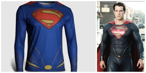 Superman Marvel Comics Costume Cycling Tee T-Shirts Long Sleeve Bicycle Jersey