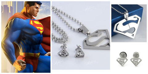 Stainless Steel Superman Pendant Chain Necklace Ear Stud Earring Set