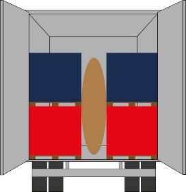 Diagram of semi-tractor trailer cargo area using a dunnage bag for freight securement.