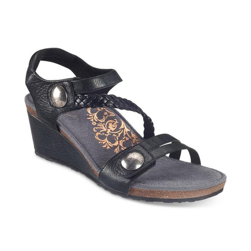 Naya Braided Quarter Strap Wedge Sandal Black - Birkenstock Plus