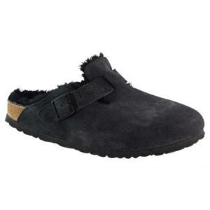 Boston Fur Suede Leather Black - Birkenstock Plus