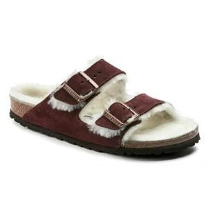 Arizona Shearling Suede Leather Fur Port - Birkenstock Plus