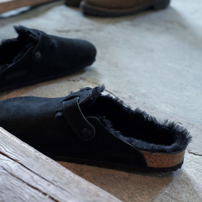 Boston shearling  Suede Leather Black - Birkenstock Plus