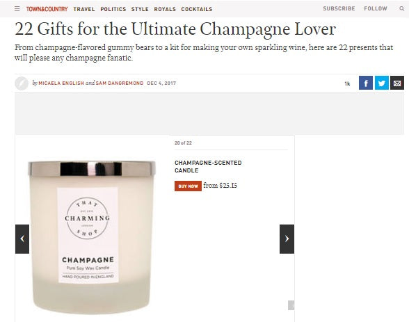 That Charming Shop - Champagne Candle - As Seen In Town & Country