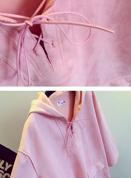 Korean Style - Pink hooded long top - AddOneClothing - 8