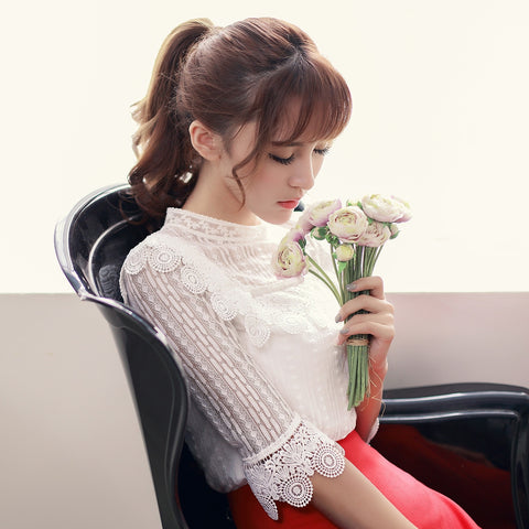 Korean fashion(&Japanese) round neck lace shirt - AddOneClothing