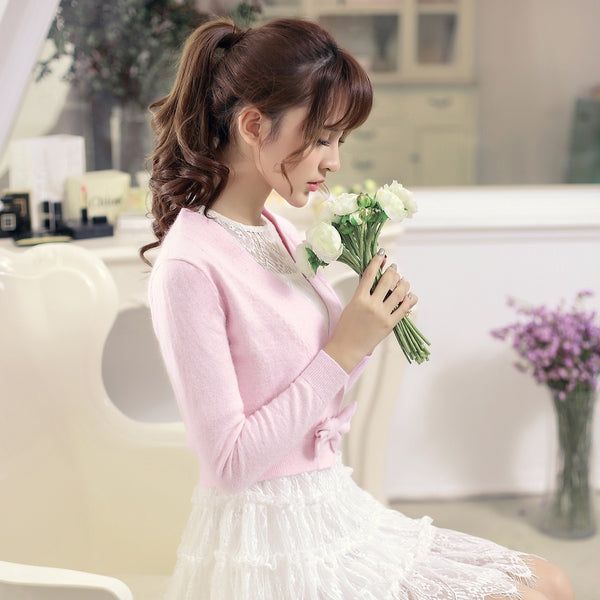 Rabbit knit V-neck sweater with bow - AddOneClothing - 1