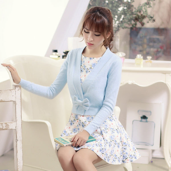 Rabbit knit V-neck sweater with bow - AddOneClothing - 4